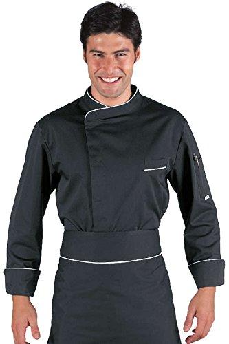 Isacco veste cuisinier bilbao noir blanc polycoton for Cuisinier basque