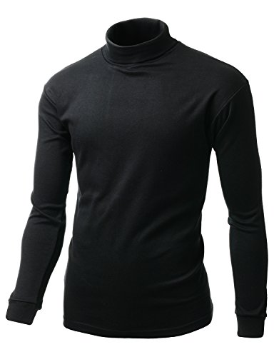 Men Double long sleeve layer Turtleneck T-shirt BLACK