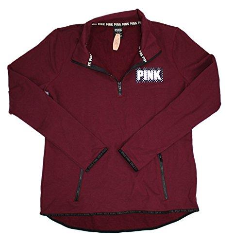 Victoria's Secret PINK Maroon/Black Half Zip-Up Sweater (Large)