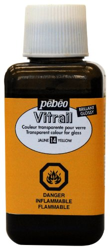 Pebeo 250Ml Vitrail Stained Glass Effect Paint Bottle, Yellow