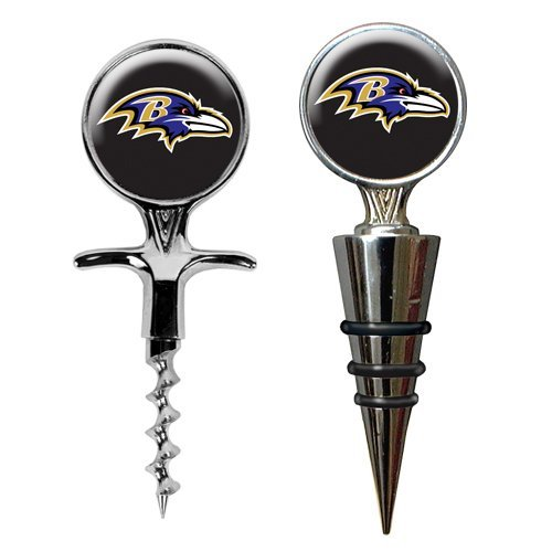 Nfl Baltimore Ravens Cork Screw And Wine Bottle Topper Set, Metallic Silver front-622877