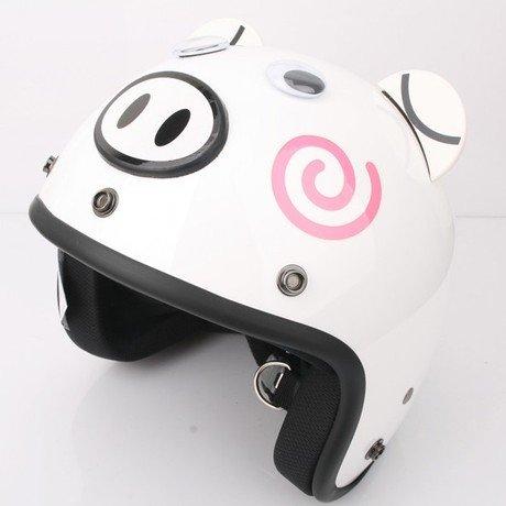 Bikman Motorcycle Motor Helmet Electric Cars Safety Bike Summer Helmet Cute Piggy (White)