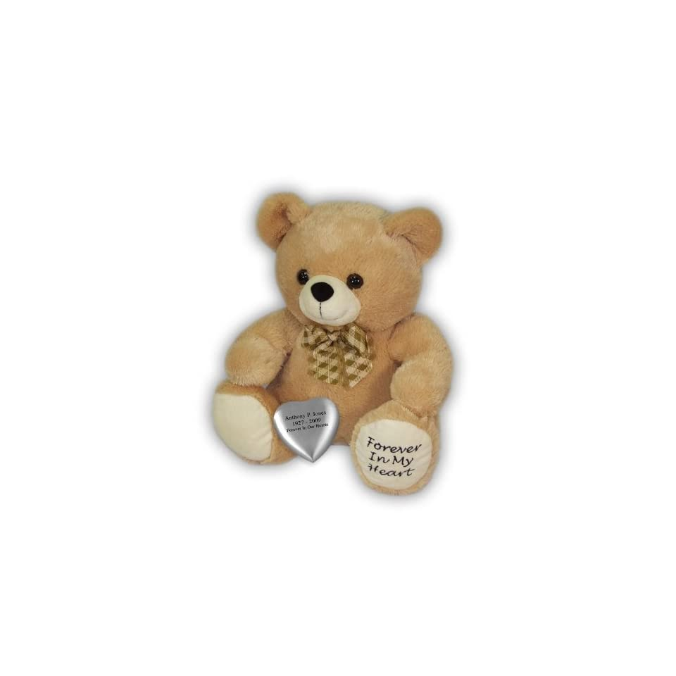 Tan Huggable Heart Teddy Bear Cremation Urn on PopScreen