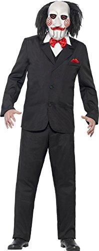 Smiffy's 20493XL - Saw Jigsaw Costume Nero con Maschera del Rivestimento Mock Gilet & Camicia, XL