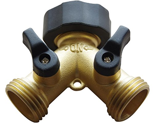 Brass Garden Hose Splitter - 2 Way Y Hose Connector Made from Solid Piece of Brass (Brass Washing Machine Y Piece compare prices)