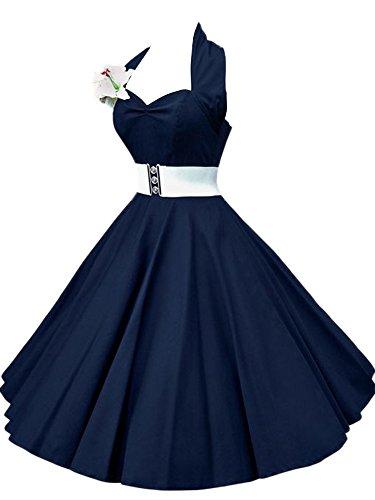 VKStarRetro-Chic-rmellos-1950er-Audrey-Hepburn-Kleid-Cocktailkleid-Rockabilly-Swing-Kleid-Marineblau-S