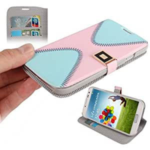 2-color Series Cross Texture Horizontal Flip Magnetic Buckle Leather Case with Credit Card Slots & Holder for Samsung Galaxy S4 i9500 (Pink + Baby Blue)