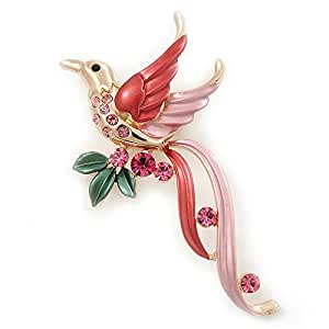 Exotic Deep Pink Diamante 'Bird' Brooch In Gold Finish - 6.5cm Length