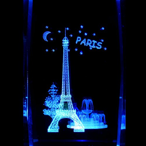 Paris Eiffel Tower 3D Laser Etched Crystal + Rotating Display Light Base With 7 Multi Color Led'S
