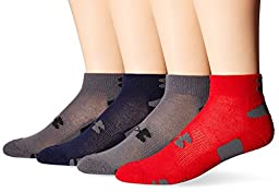 Under Armour Men\'s HeatGear Lo Cut Socks, Rocket Red/Assorted, Large