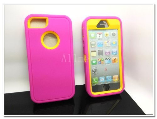 Multi Color Iphone 5 5S Body Armor Silicone Hybrid Cove Hard Case, Three Layer Silicone PC Case Cover for iPhone 5 5S (Hot Pink+Yellow)