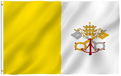 ANLEY® [Fly Breeze] 3x5 Foot Vatican Flag - Vivid Color and UV Fade Resistant - Canvas Header and Double Stitched - State of Vatican City Flags Polyester with Brass Grommets 3 X 5 Ft (Italian Flag Souvenir compare prices)