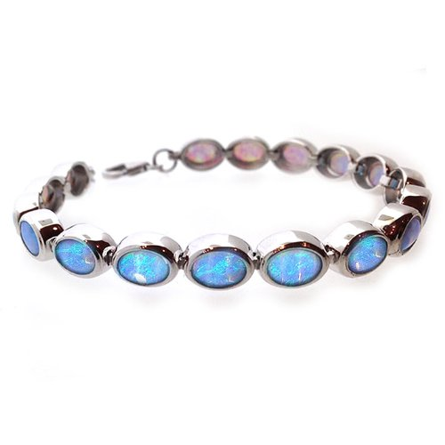 Blue Opal Bracelet, sterling silver with cultured opals, adjustable length, in a presentation box