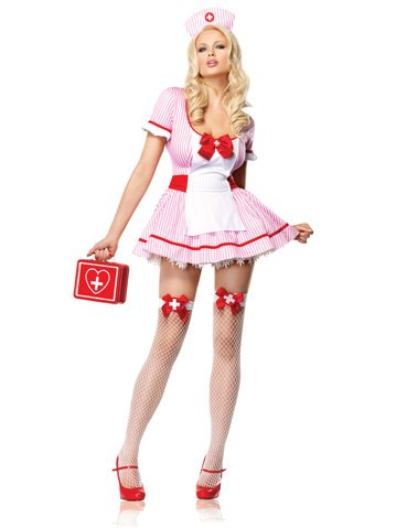 Sexy Nurse Costume Pink White Mini Dress Nurses Uniform Adult Theatre Costumes