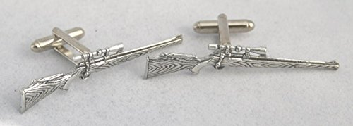 Solid Pewter Hunting Rifle Cufflinks With Gift Box
