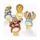 Plastic Big Top Circus Character Cupcake Picks  Pack of 12