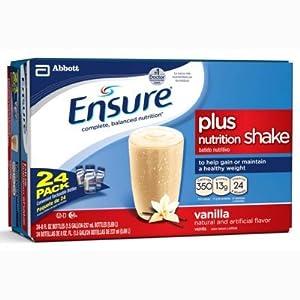 Ensure Plus Vanilla Shake - 24 x 8 oz. bottles