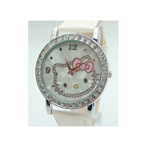 Hello Kitty  Crystal and Mother of Pearl Background White Band Watch &  Pouch + Extra Battery - Brand New