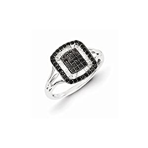Sterling Silver Black and White Diamond Square Ring, Size 8, (0.5 ctw, I1-I2 Clarity), Rings for Women