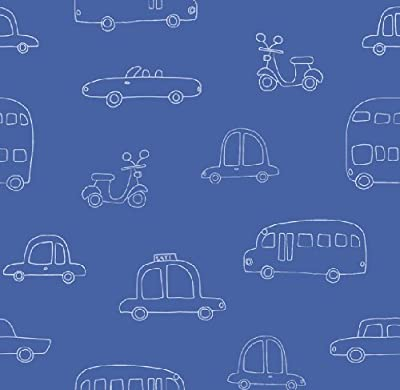 Hoopla Cars Navy Blue Bus Scooter Vehicle Childrens Bedroom 10m Wallpaper Roll Decor Art from DECORLINE