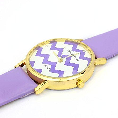 Zps(Tm) Moire Watch Pu Leather Quartz Wrist Watches(Purple)