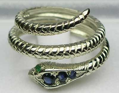 925 Sterling Silver Natural Sapphire and Emerald Womens Band Ring - Sizes 4 to 12 Available