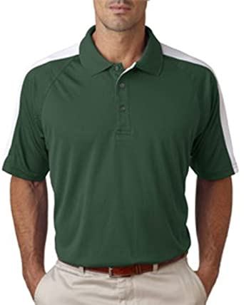 UltraClub Cool-N-Dry Men's Sport Shoulder Block Polo Shirt-Forest Green/White-3XL