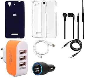 NIROSHA Cover Case Car Charger Headphone USB Cable Charger Combo for YU Yureka Combo