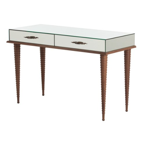 Saba Waxed Solid Walnut Hollywood Regency Mirrored Vanity Table