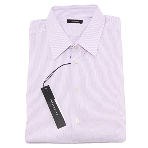 23161 camicia uomo GAZZARRINI bianco viola shirt men long sleeve [XXL]