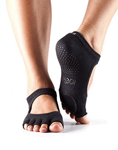 ToeSox Women's Plie Half Toe Grip for Yoga, Pilates, Barre, Dance, Toe Socks With LEATHER PAD (Black) Small