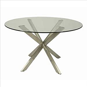 Round Glass Top Dining Table In Stainless Steel 56 Inch Round Glass