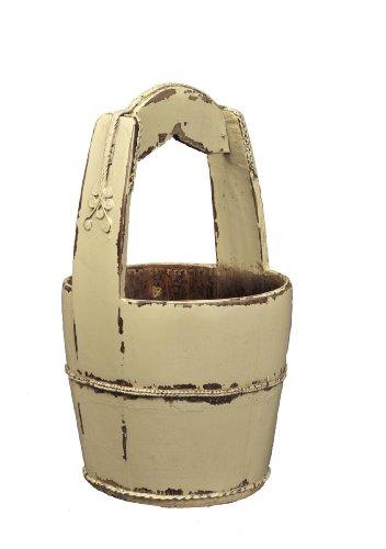 Antique Revival Spire-Handle Wooden Water Bucket, Butter 0