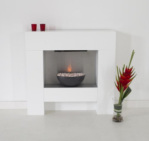 The Cubist Electric Fireplace Suite with Graphite Effect Bowl