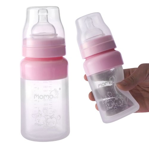 Momo Baby Wide Neck Silicone Baby Bottle, Pink, 8 Ounce