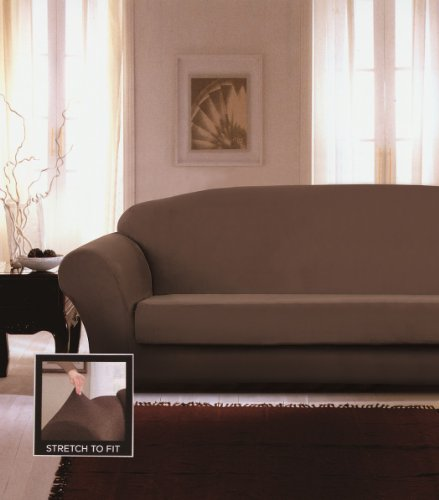 Chezmoi Collection Glen 2-Piece Chocolate Brown Micro Suede 4-Way Stretch Slipcover Box Cushion Sofa front-944055