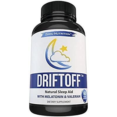 Driftoff Natural Sleep Aid with Valerian Root & Melatonin - Sleep Well, Wake Refreshed - Non Habit Forming Sleep Supplement - Also Includes 5 HTP, Chamomile, Ashwagandha & More - 60 Veggie Capsules