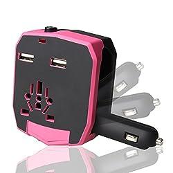 Chevron 2.1A Dual USB International Charger (Pink)