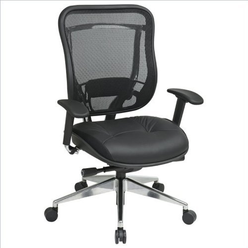 Office Star Matrex Back and Leather Seat with Adjustable Arms and Lumber, Ultra 2-to-1 Control, Seat Slider and Chrome Finish Base