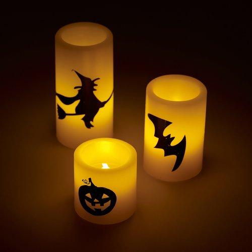 3er Set LED Halloween Echtwachskerzen orange