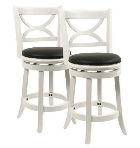 Boraam Florence Stool, 24-Inch, Distressed White Finish, 2-Pack