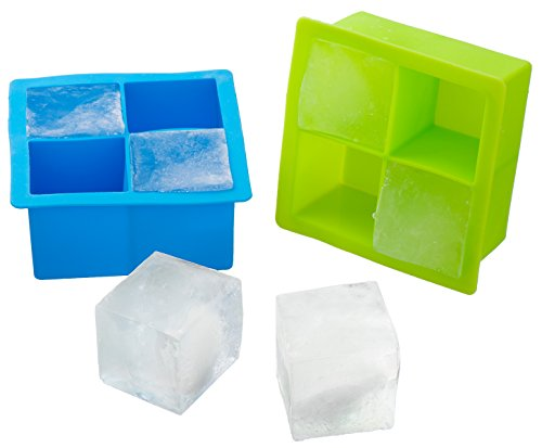 Kuuk Silicone Large Ice Cube Mold Tray (Twin Pack) Blue and Green