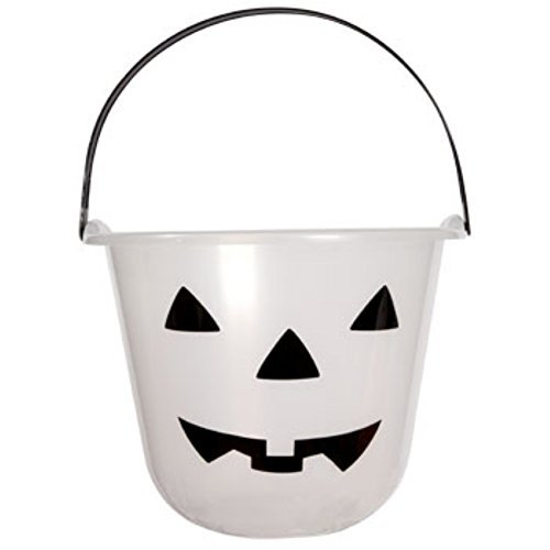 Glow-in-the-dark Jack-o-lantern Treat Pails with Carrying Handles