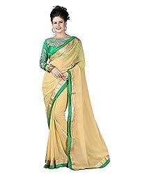 SRP Fashion Selection Women's Chiffon Saree (SRP-OF38, Beige)
