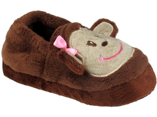 Image of Capelli New York Moccasin With Girly Monkey & Satin Bow Toddler Grls Indoor Slipper (B005NA0K0M)