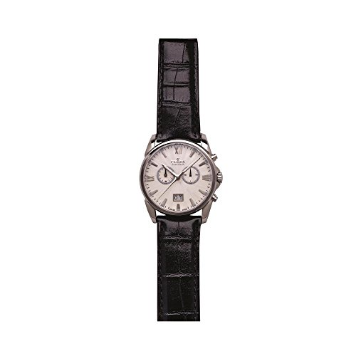 Charmex Geneva Homme 42mm Chronographe Noir Cuir Bracelet Date Montre 2665