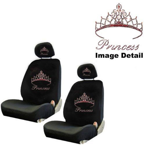 Pink Princess w/ Cute Crown Gem Crystal Studded Rhinestone Bling Car Truck SUV Front Low Back Bucket Seat Covers with Head Rest Pairs - 4PCS (Princess Seat Covers compare prices)