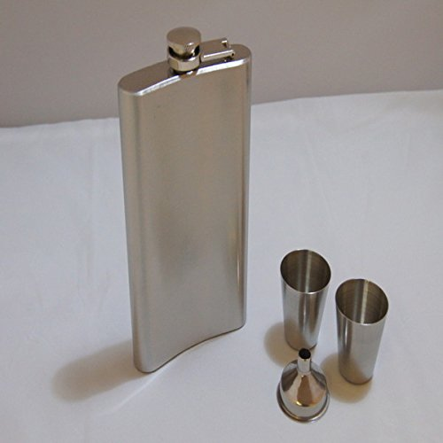 Choose from size stainless steel hip flask flask shot glass 2 funnel 1 set of 4 pieces (10 oz)