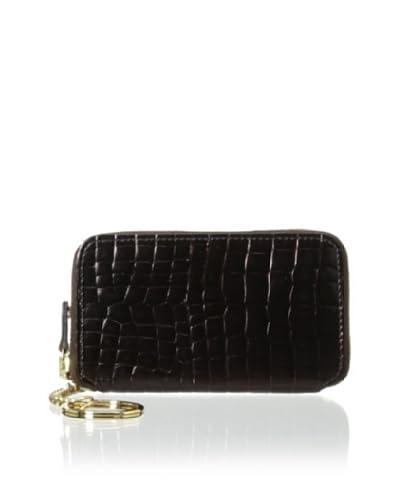 AEON Women's Zipper Key Fob, Chocolate Metallic Croc