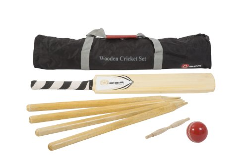 Wooden Cricket Set - A fantastic entry level cricket set that includes a size 5 wooden cricket bat, a full size rubber cricket ball, 4 wooden stumps and a wooden bail. All in a nylon storage bag.